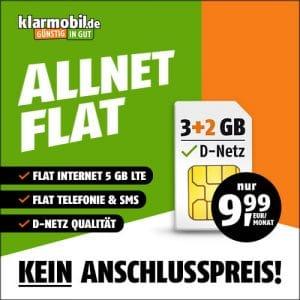 klarmobil Allnet Flat LTE Tarife im Vergleich - im Telekom-Netz, Vodafone-Netz Thumbnail