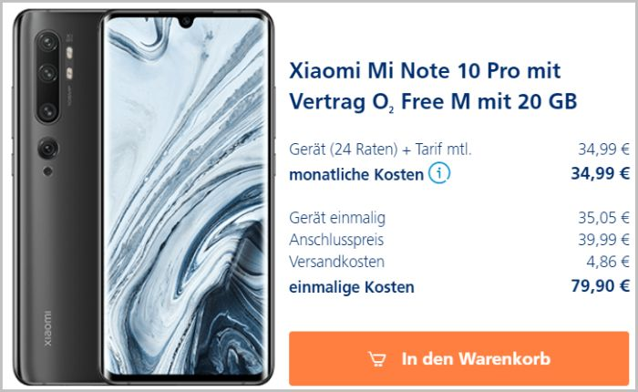 Xiaomi Mi Note 10 Pro mit o2 Free M