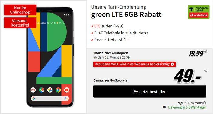 Google Pixel 4 + mobilcom-debitel green LTE (Vodafone-Netz) bei MediaMarkt