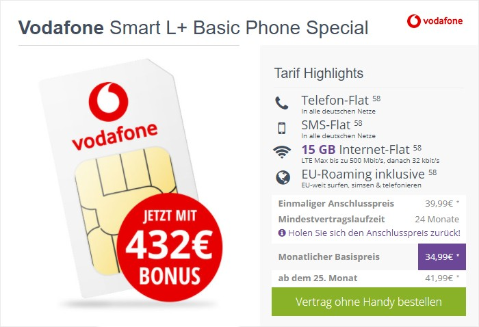 Vodafone Smart L Plus (SIM-only) bei FLYmobile
