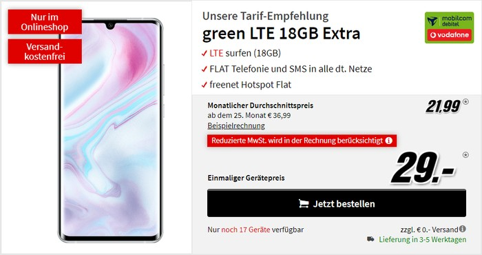Xiaomi Mi 10 Pro + mobilcom-debitel green LTE (Vodafone-Netz) bei MediaMarkt