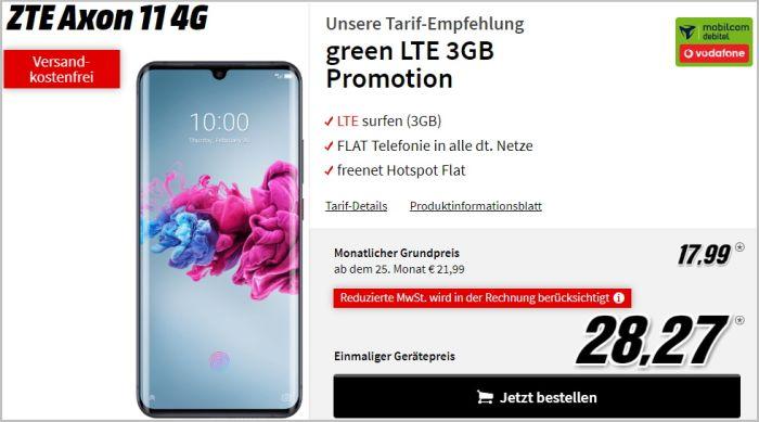 ZTE Axon 11 mit Vertrag green LTE (Vodafone-Netz)
