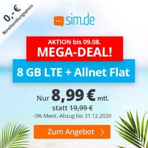 simde 8 GB Aktion Anfang August 2020