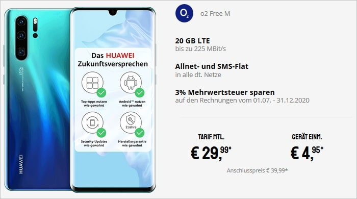 Huawei P30 Pro zum o2 Free M bei Sparhandy