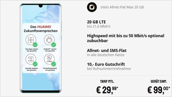 Huawei P30 Pro zum otelo Allnet-Flat Max im Vodafone-Netz bei Sparhandy