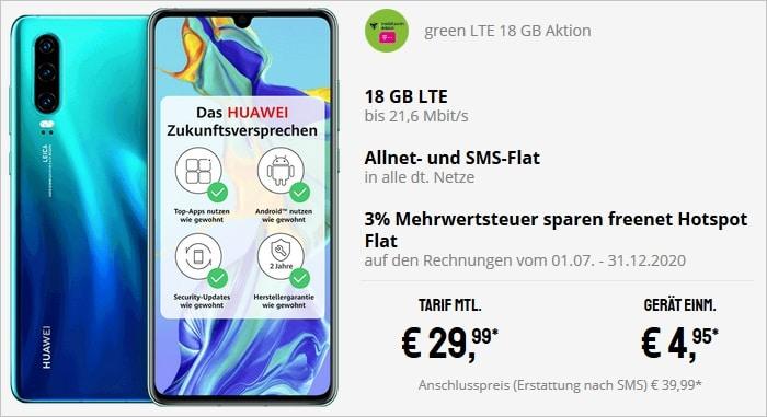 Huawei P30 mit Vertrag green LTE 18 GB im Telekom-Netz bei Sparhandy