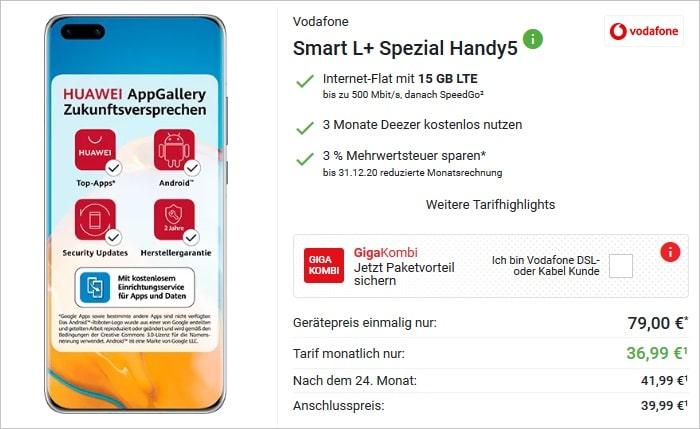Huawei P40 Pro zum Vodafone Smart L Plus bei DeinHandy