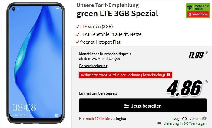 Huawei P40 lite mit green LTE 3 GB im Vodafone-Netz bei MediaMarkt