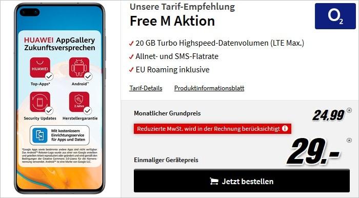 Huawei P40 mit o2 Free M bei MediaMarkt