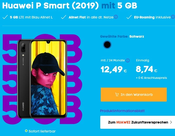 Huawei P Smart 2019 mit Blau Allnet L 5 GB LTE bei Blau