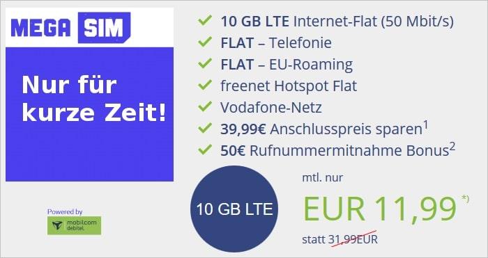 MegaSIM 10 GB Aktion Vodafone-Netz