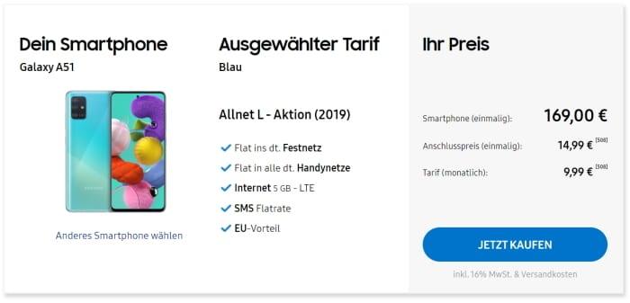 Samsung Galaxy A51 Blau Allnet L Aktion Samsung direkt