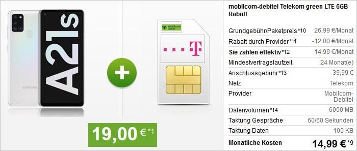 Samsung Galaxy A21s mit md green LTE 6 GB im Telekom-Netz bei modeo