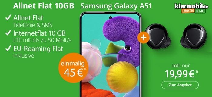 Samsung Galaxy A51 + Galaxy Buds Plus zur klarmobil Allnet Flat 10 GB LTE im Vodafone-Netz bei modeo