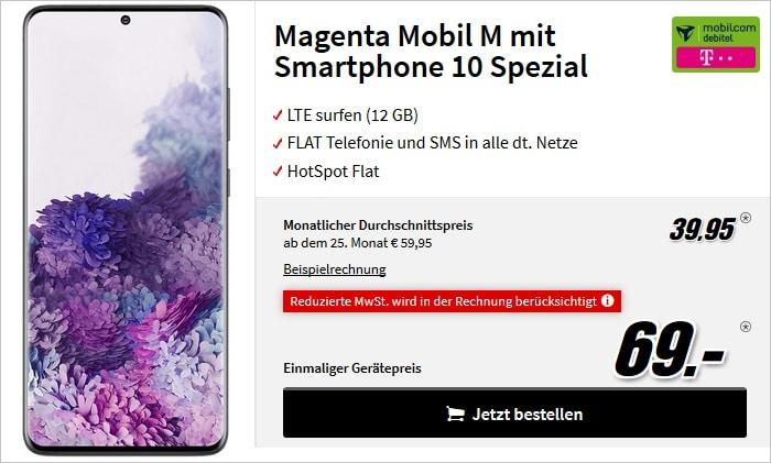 Samsung Galaxy S20 Plus mit md Magenta Mobil M bei MediaMarkt