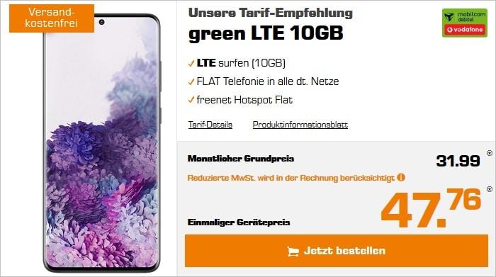 Samsung Galaxy S20 Plus zum green LTE 10 GB im Vodafone-Netz bei Saturn