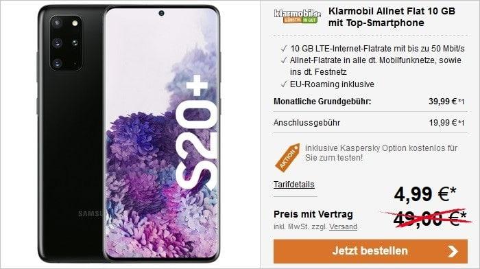 Samsung Galaxy S20 Plus zur klarmobil Allnet Flat mit 10 GB LTE im Vodafone-Netz bei LogiTel