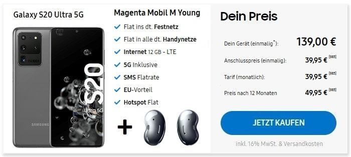 Samsung Galaxy S20 Ultra 5G + Buds + MagentaMobil M Young im Samsung Online Shop