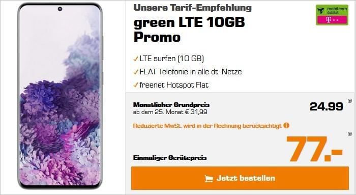 Samsung Galaxy S20 mit green LTE 10 GB im Telekom-Netz bei Saturn
