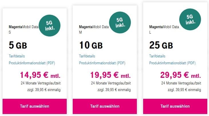 Telekom Datentarife - Surfen mit MagentaMobil Data