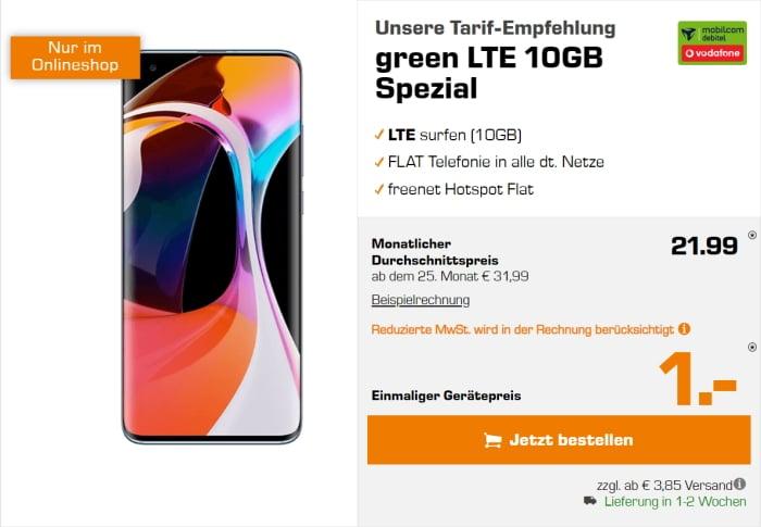 Xiaomi Mi 10 zum mobilcom-debitel green LTE (Vodafone-Netz) bei Saturn