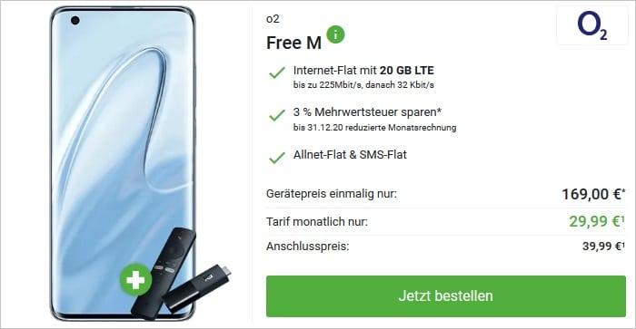 Xiaomi Mi 10 mit TV Stick zum o2 Free M bei DeinHandy