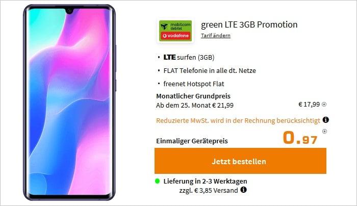 Xiaomi Mi Note 10 Lite mit md green LTE 3 GB im Vodafone-Netz bei Saturn