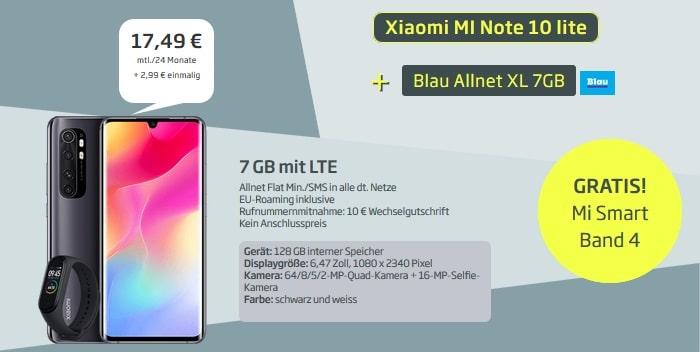 Xiaomi Mi Note 10 lite mit Zugabe zum Blau Allnet XL bei curved neu