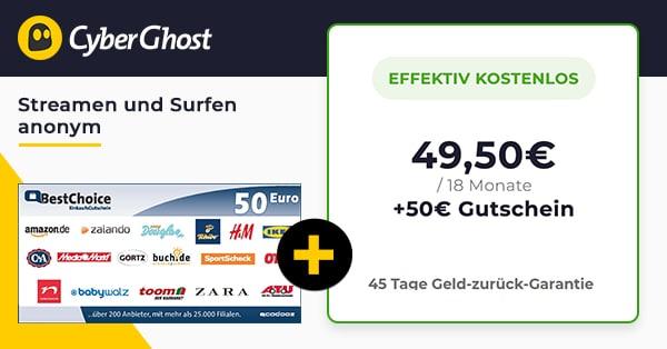 CyberGhost VPN kostenlos durch Gutschein