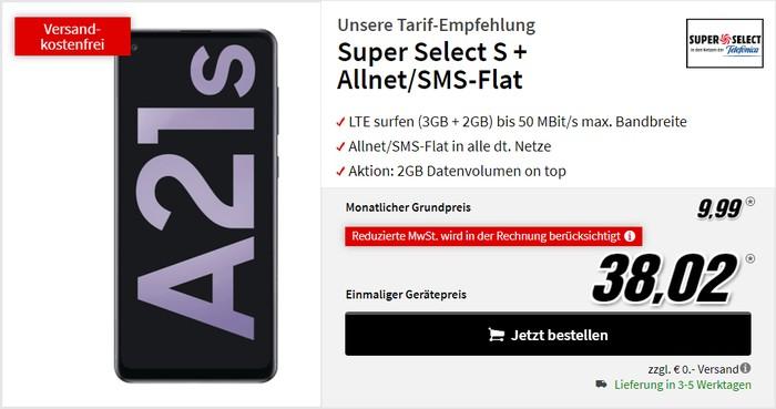 Samsung Galaxy A21s + Super Select S bei MediaMarkt