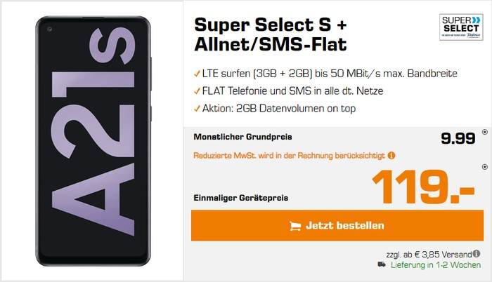 Samsung Galaxy A21s + Super Select S bei Saturn