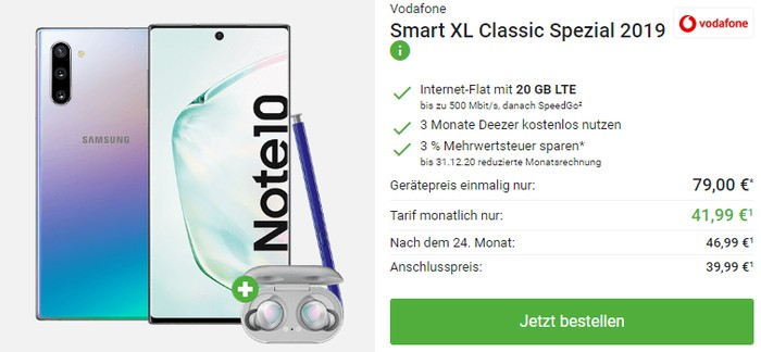 Samsung Galaxy Note 10 + Samsung Galaxy Buds + Vodafone Smart XL bei DeinHandy