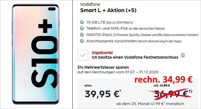 Samsung Galaxy S10 Plus + 50 € Aktionsguthaben + Vodafone Smart L Plus bei Preisboerse24