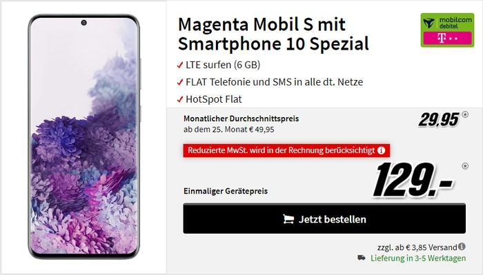 Samsung Galaxy S20 + mobilcom-debitel Magenta Mobil S (Telekom-Netz) bei MediaMarkt