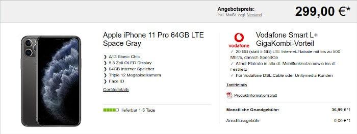 iPhone 11 Pro mit Vodafone Smart L (auch GigaKombi)