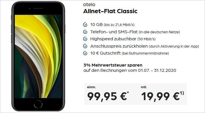 iPhone SE 2020 mit otelo Allnet-Flat Classic bei Preisboerse24