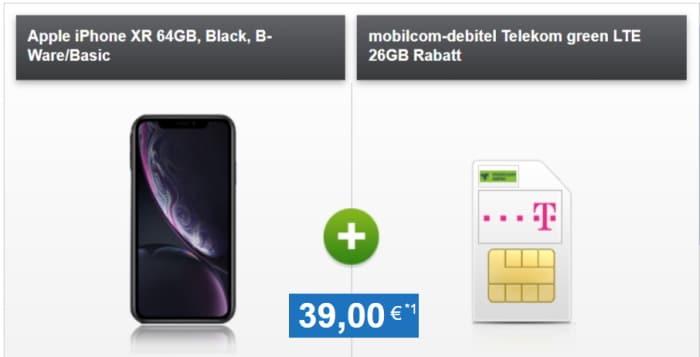 Apple iPhone XR + md green LTE 30 GB im Telekom-Netz bei Handytick
