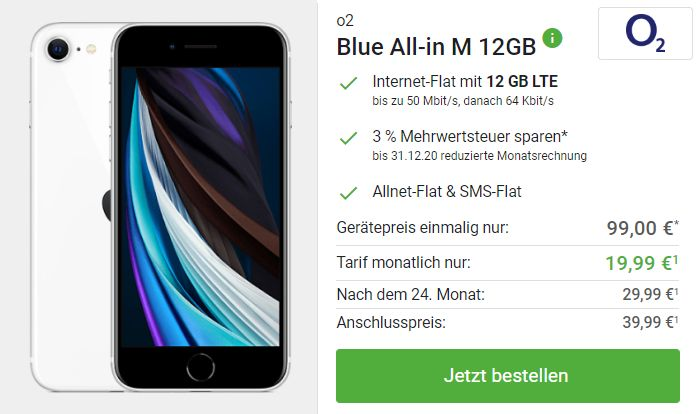 iPhone SE (2020) + o2 Blue All-in M bei DeinHandy