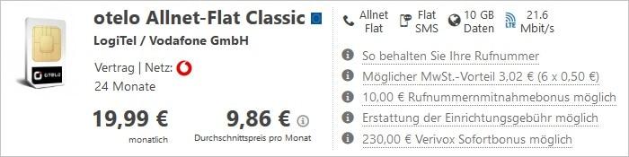 otelo Allnet-Flat Classic mit 230 Euro Sofortbonus bei Verivox