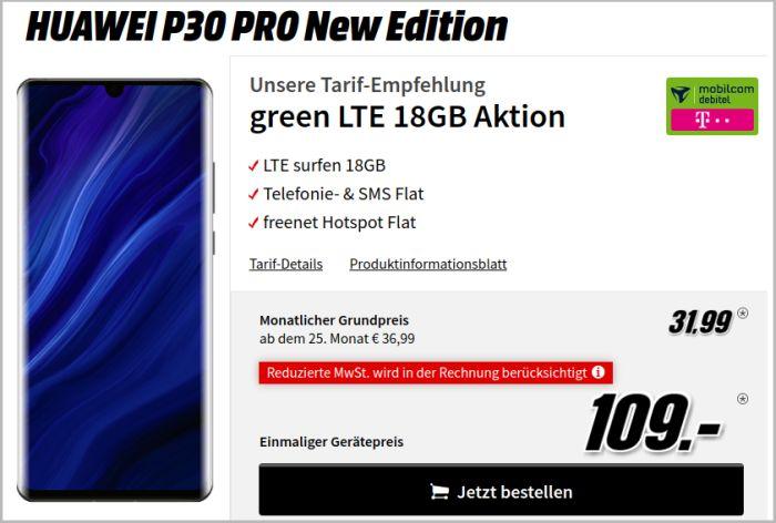 Huawei P30 Pro New Edition mit mobilcom-debitel green LTE 18 GB im Telekom-Netz bei MediaMarkt