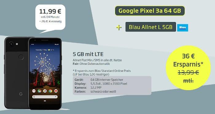 Pixel 3a mit Vertrag Blau Allnet L