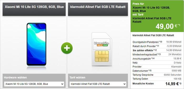 Xiaomi Mi 10 Lite 5G + klarmobil Allnet Flat (Vodafone-Netz) bei Modeo