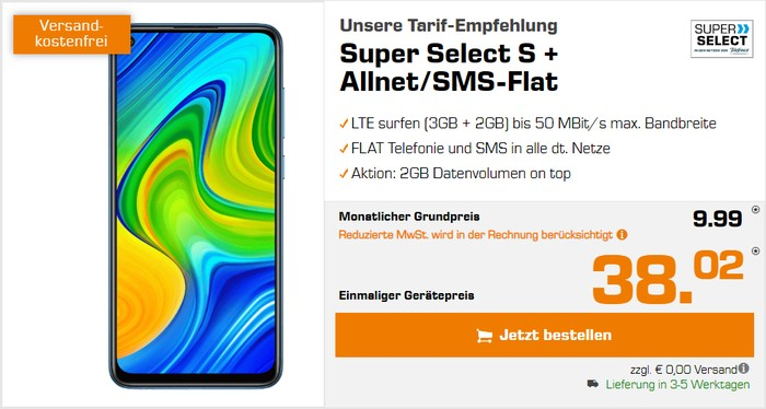 Xiaomi Redmi Note 9 + Super Select S bei Saturn
