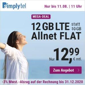 simply Allnet-Flat mit 12 GB LTE und 12,99 € Grundgebühr Aktion