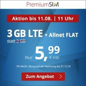 PremiumSIM mit 3 GB LTE und 5,99 € Grundgebühr - flexibel kündbare Allnet-Flat
