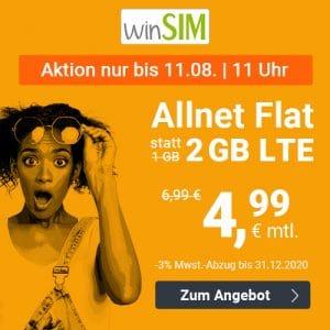 winSIM LTE All 1 GB + 1 GB extra - Allnet-Flat - 2 GB LTE mit bis zu 50 MBit/s - Ohne Vertragslaufzeit oder 24 Monate