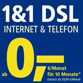 DSL von 1&1 mit 10 Freimonaten Aktion