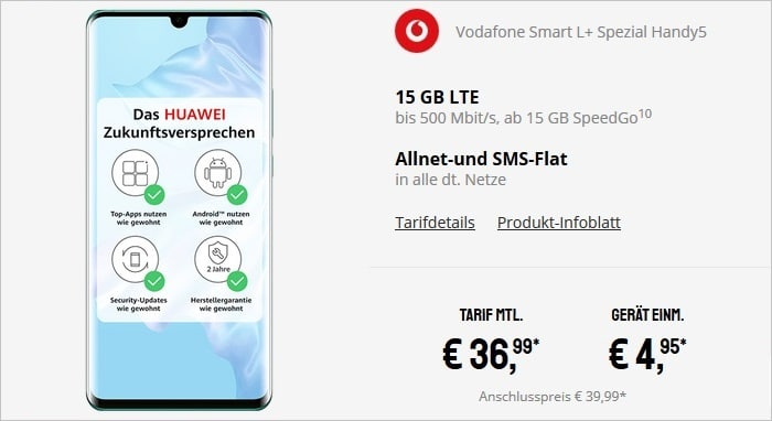 Huawei P30 Pro + Vodafone Smart L Plus bei Sparhandy