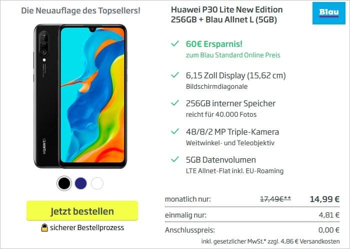 Huawei P30 lite New Edition mit Blau Allnet L 5 GB bei curved