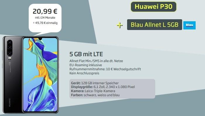 Huawei P30 mit BLau Allnet L und 5 GB LTE bei curved